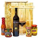 Geschenkset Madrid   Spanien Geschenkkorb mit Wein, spanische Tapas Spezialitäten & Holzkiste   Präsentkorb spanisch für Frauen & Männer