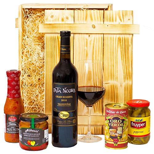 Geschenkset Madrid | Spanien Geschenkkorb mit Wein, spanische Tapas Spezialitäten & Holzkiste | Präsentkorb spanisch für Frauen & Männer