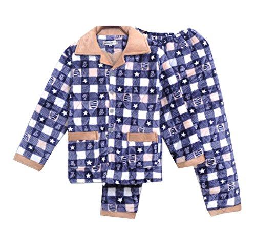 Dragon Troops Sistema de Pijama de Terciopelo de Franela de Invierno Espesada de los Hombres del Invierno, salónwear y Ropa de Dormir, A7
