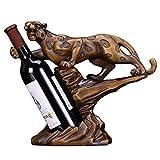 Botellero Obra de arte Regalo de boda Decoración de estante de vino Forma de leopardo Decoración de gabinete de vino marrón Decoración creativa de la sala de estar Barra de escritorio Decoración Almac
