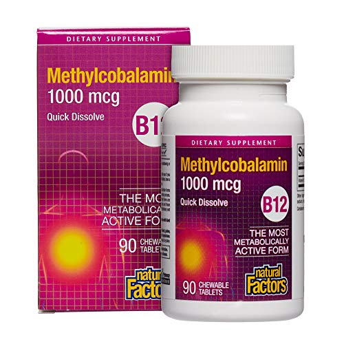 Natural Factors B12 Methylcobalamin, 1000Mcg, 90 Sublingual Tablets, 200 g