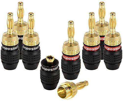 Poppstar - 8X fiches Bananes Haut de Gamme (blindées), pour câbles d'enceintes (jusqu'à 6 mm²), Haut-parleurs, Hi-FI, récepteur et amplificateur AV, plaqué Or 24 carats (4X Noir, 4X Rouge)