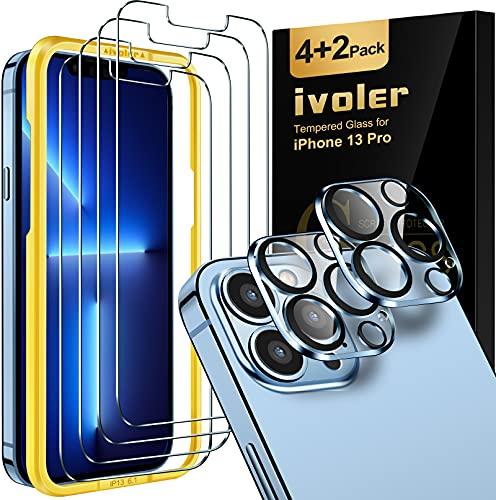 ivoler 4 Unidades Protector de Pantalla Compatible con iPhone 13 Pro 6.1...