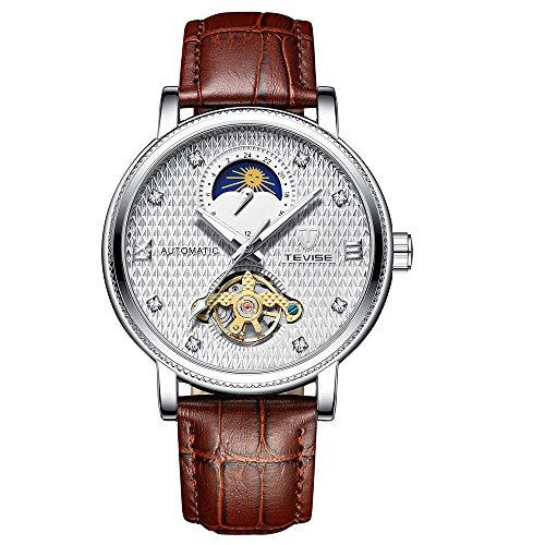 TEVISE Herren Business Automatische Mechanische Uhr Zeit Mondphase Display Lässig Leuchtende Hände Lederband Leben Herrenuhr
