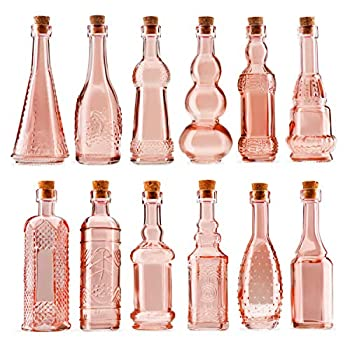 Small Reddish Vintage Glass Bottles with Corks Bud Vases Decorative Potion Assorted Design Set of 12 pcs 4.6 Inch Tall  11.43cm  1.4 Inch Wide  3.56cm