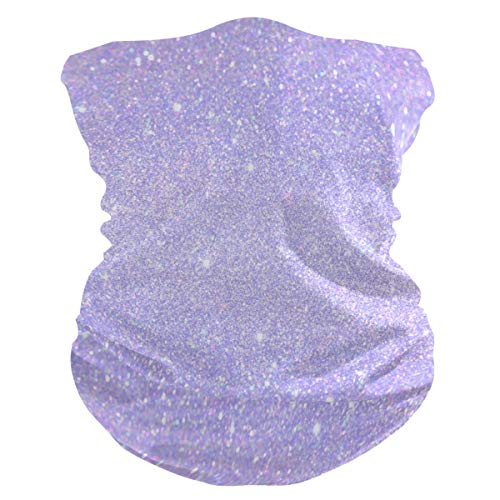 Qilmy Shiny Glitter Lavender Protection Anti Droplet Face Mask Summer UV Neck Gaiter Scarf Sunscreen Breathable Bandana for Sport&Outdoor