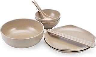 ERTONGHUANBAOCANJU Creative rice hull tableware set, dishes, spoons and chopsticks (Color : Natural)