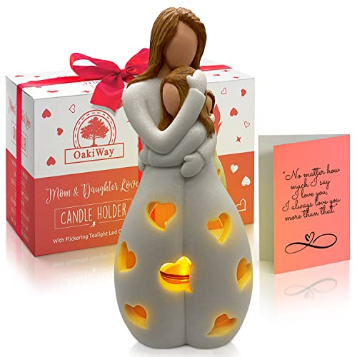 OakiWay Gifts For Mom From Daughter - Candle Holder Statue W/...
