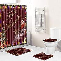 180 * 180センチメートルポリエステル防水シャワーカーテン、バスルーム用12Hooks +バスマットトイレ蓋カバーすべり止めマット敷物で、素敵なクリスマス雰囲気シャワーカーテンセット Red wine-180~45-75cm