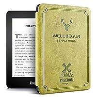 Echana 対応 Kindle Paperwhite4 ケース 高級 プレミアムレザーカバー 保護カバー 電子書籍カバー 薄型 軽量 耐衝撃 防水 磁石で固定 第10世代 (グリーン)