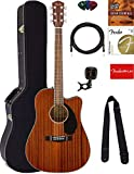 Fender CD-60SCE Dreadnought Acoustic-Electric Guitar - All Mahogany Bundle with Hard Case, Tuner, Strap, Strings, Picks, Austin Bazaar...