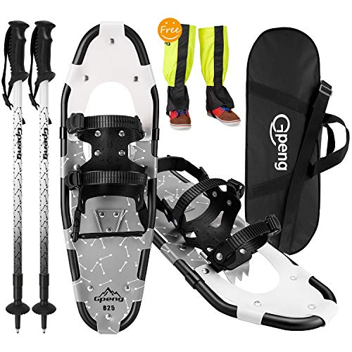 Gpeng 4-in-1 Xtreme Lightweight Terrain Snowshoes Set for Men Women Youth Kids, Light Weight Aluminum Alloy Terrain Snow Shoes with Trekking Poles and Free Waterproof Leg Gaiters, 14'/21'/25'/27'/30'
