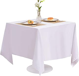 EVENTSDECO Square Tablecloth White Polyester Table Cloth 200 GSM 52x52 Table Cloths for Banquet Wedding Buffet Dining and Party