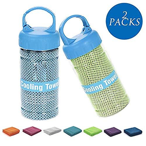 FULAISI Kühltuch - 2 Packungen Sofortkühltuch Relief für Fitness, Golf, Yoga und Outdoor-Sport, superweiches und atmungsaktives Handtuch mit speziellem Flaschenpaket mit Clip (Blau & Grün)