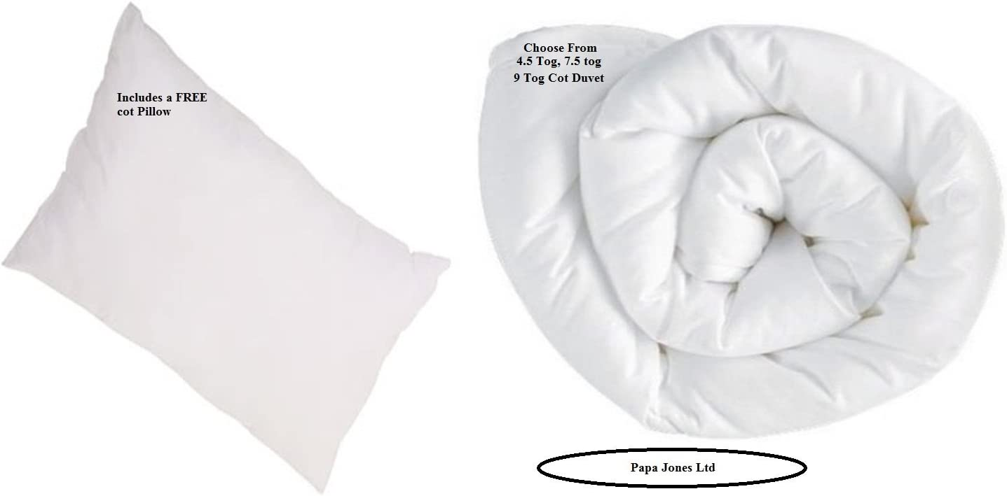 Soft Touch Cot Bed Pillows by Papa Jones Ltd. Anti-Allergy Filling Double Stitched Cozy Cot Bed Duvet