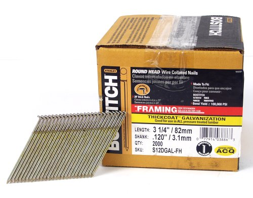BOSTITCH Framing Nails, 28 Degree, Wire Weld, Galvanized, 3-1/4-Inch x .120-Inch, 2000-Pack (S12DGAL-FH)
