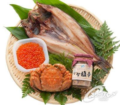 【海鮮市場 北のグルメ】 グルメ満開セット (毛がに、しまほっけ、いくら、いか塩辛) ギフト 贈答 北海道