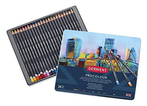 Derwent Colored Pencils, Procolour Pencils, Drawing, Art, Metal Tin, 24 Count (2302506)
