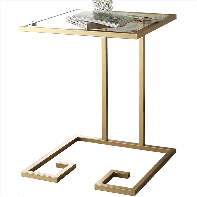 NAN Iron Glass Coffee table Creative Living Room Small Square Coffee table Side Sofa Small Side table Small Side Cabinet - 45  45  60CM Folding Tables (color   gold)