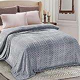 Whale Flotilla Flannel Fleece King Size(90x104 Inch) Lightweight Bed Blanket, Soft Velvet Bedspread Plush Fluffy Coverlet Chevron Design Decorative Blanket for All Seasons, Silver Grey