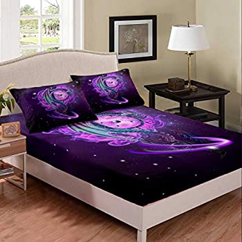 Erosebridal Galaxy Fitted Sheet Twin Size Dream Catcher Bed Cover Boho Theme Sheet Set Dragon and Feather Printed 2 Piece Bedding Decorative with 1 Pillow Case for Kids Adults,Purple