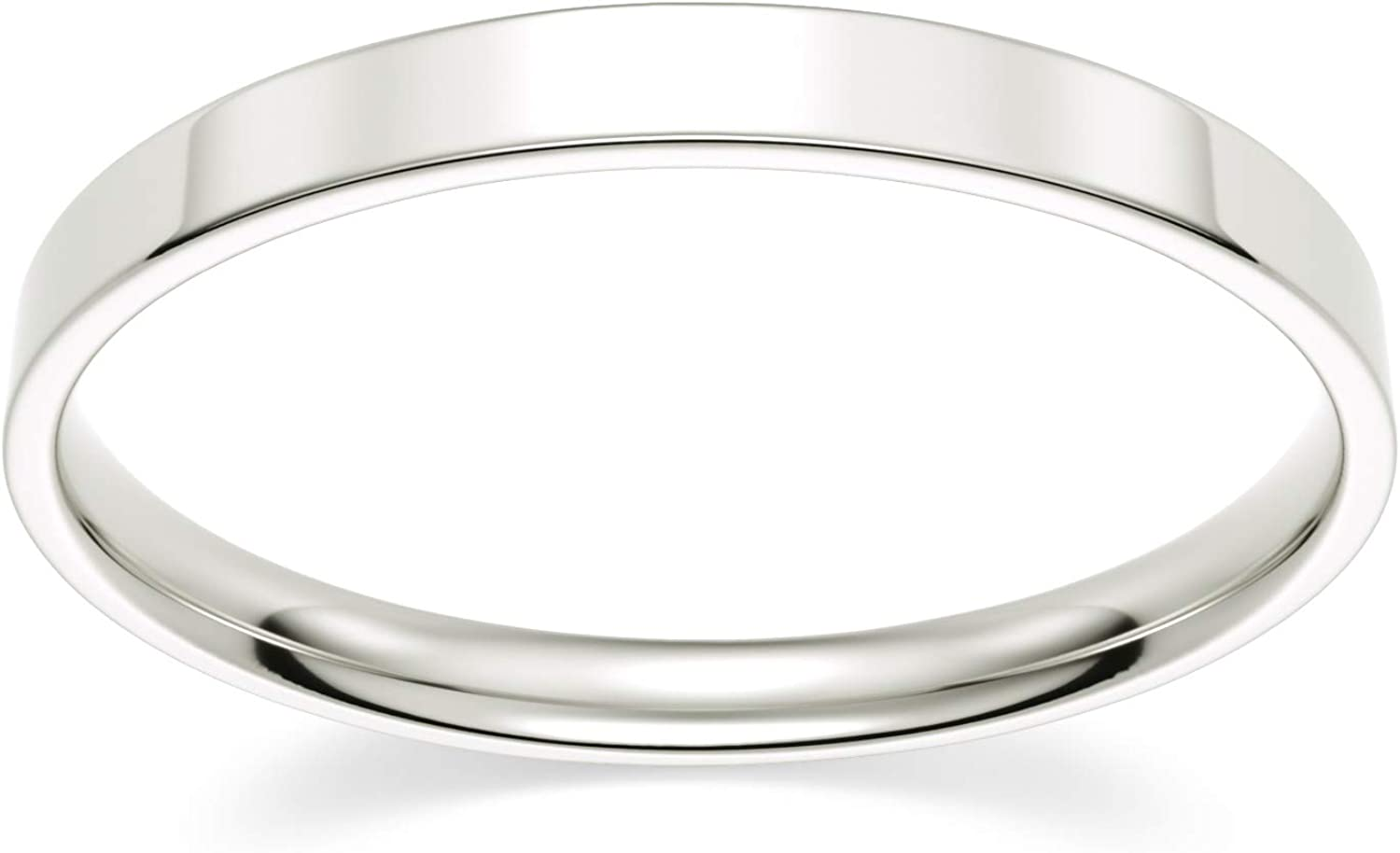 10k Max 47% OFF White Gold 2mm Light Wedding Comfort Band Flat Fit 1 year warranty