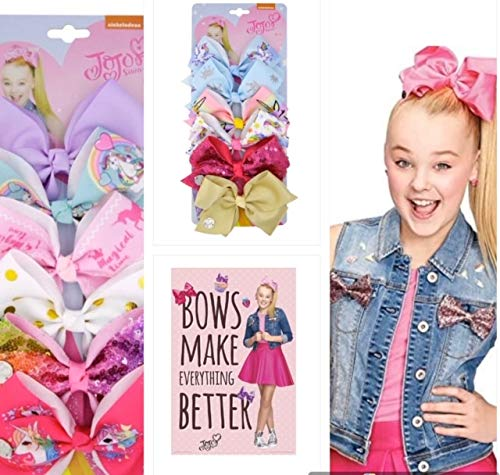 JOJO SIWA 12pcs Hair Bows Clips for Girls ( 2 Set) - 5 Inches Alligator Clips for Girls Large Bow (Unicorn)