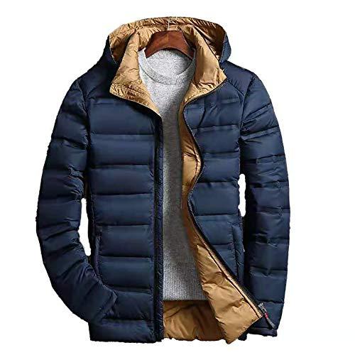 Heren gewatteerde jas, winddicht ski-donsjack, heren winter warm verdikte capuchon