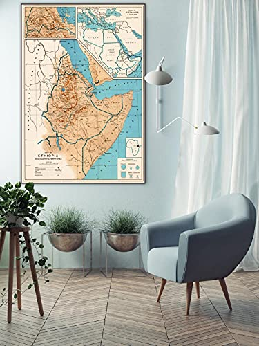 MG global Mapa vintage de Etiopía, mapa de Etiopía, mapa de Etiopía, mapa de pared de Etiopía, mapa de Etiopía, regalo de Etiopía, mapa de Etiopía, lienzo sin marco para pared