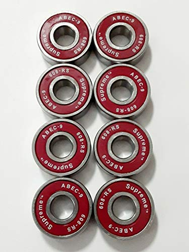 Sovereign Speed 8 Pack Red ABEC-9 Bearings for Skateboard Longboard Roller Skate Inline Scooter 608-2RS (8mmx22mmx7mm)