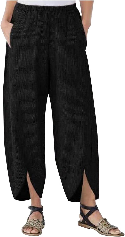 LINGERY Women's Wide Leg Pants Loose Pocket Straight Bifurcated Trousers GL-1