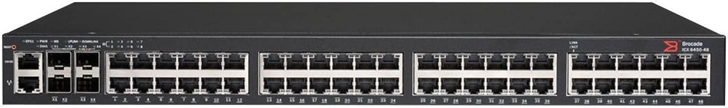 Brocade ICX 6450 Ethernet PoE+ Switch - 48-Port 1GbE PoE+ Switch, 780W, 2x 1GbE SFP+, 2x 1GbE/10GbE SFP+ Uplink/Stacking Ports