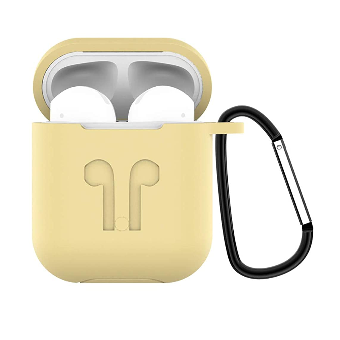 Fine Compatible for AirPods Case with Keychain, Shockproof Protective Silicone Portable Cover Skin for AirPods Charging Case 2 & 1
