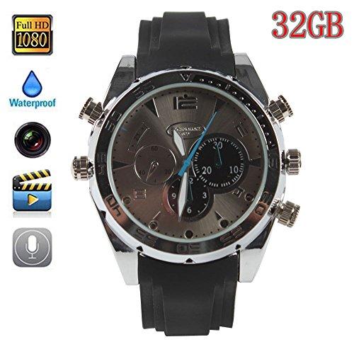 Boriyuan modische Uhr, 32GB, beliebtes HD (1080P), Nachtsicht-Aufnahmefunktion, wasserdichte Uhr mit Kamera