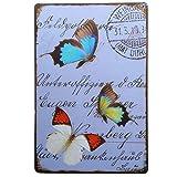 DGBELL Three Butterfly Retro Wand Dekoration Zinn Zeichen