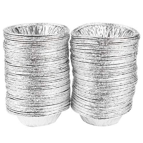 100 bandejas de papel de aluminio, mini moldes de aluminio para muffins para pasteles, moldes para latas, moldes antiadherentes para pasteles, moldes para pudín, moldes para galletas para hornear