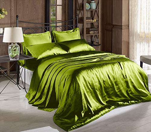 Hight Thread Count Solid Color Soft Silky Charmeuse Satin Luxury and Super Soft Bed Sheet Set (Sage Green, Queen)