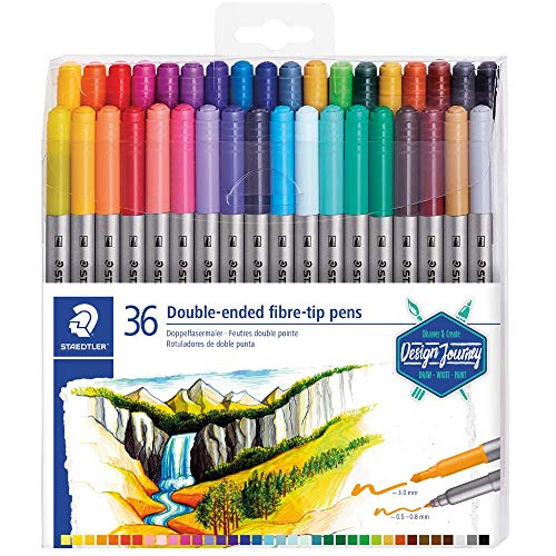 Staedtler 3200 Design Journey – Set 36 Pennarelli Da Colorare doppia punta 3,0 mm e 0,5 – 0,8 mm assortiti