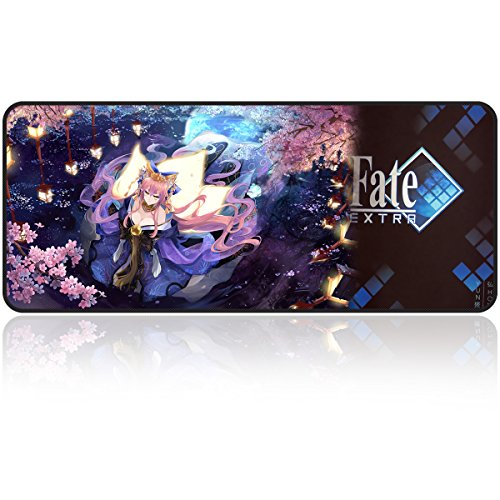 Large Gaming Mouse Pad/Mat Extended Size Mousepad for Computer Desktop PC Laptop 31.5'x11.8'x0.15' Keyboard Pad Desk Pad with Anti-Slip Rubber Base Mouse Pad Mat by Qisan(Tamamo no Mae Pattern)