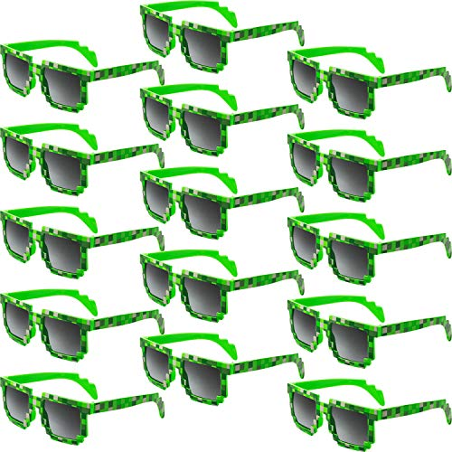 15 Pair Pixel Retro Gamer Robot Sunglasses Pixel Sunglasses Pixelated Sunglasses Birthday Party Favors for Kids and Adults (Green)