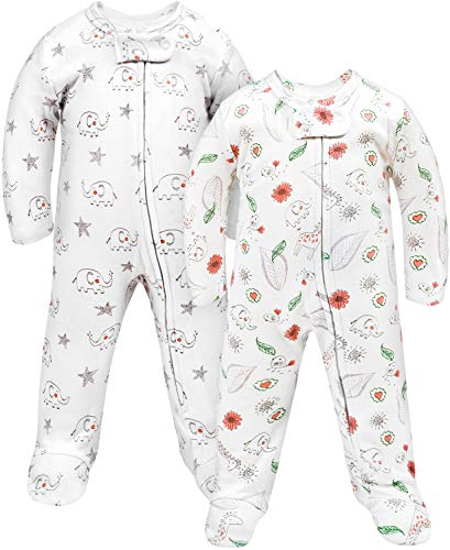 TILLYOU Baby Sleep and Play Boy Footed Pajamas 2-Pack 9-12 Months