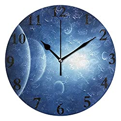 FunnyCustom Round Wall Clock Light Blue Space Acrylic Creative Decorative for Living Room/Kitchen/Bedroom/Family