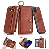 SXTBMR 2019 iPhone 11 Flip Wallet Case,Magnetic Detachable Handmade Cowhide Wallet Case Leather,Zipper Wallet Flip Protective Case Cover with Card Holder for iPhone 11 6.1 inch - Brown