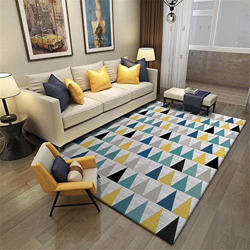 WQ-BBB Niños Jugando La Alfombrers Diseño geométrico triángulo pequeño Salón Alfombra Negro Amarillo Azul Verde Peludo renovación de viviendas Interiores La Alfombrae 80X160cm