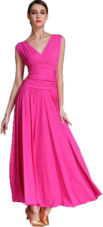 Ladies Lyrical Dance Dress V-Neck Maxi Dress Sleeveless Minimalism Leotard Pleated Skirt Summer Dance Prom Dresses Cocktail Latin Waltz
