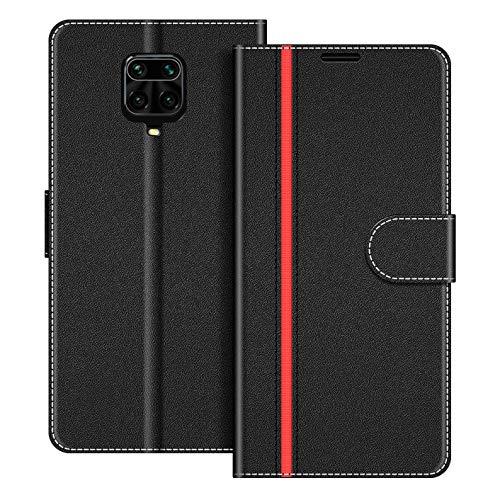 COODIO Handyhülle für Xiaomi Redmi Note 9 Pro Handy Hülle, Xiaomi Redmi Note 9S Hülle Leder Handytasche für Xiaomi Redmi Note 9 Pro/Redmi Note 9S Klapphülle Tasche, Schwarz/Rot