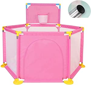 L TSA Baby Playpen Ball Pit Tent Pink with Mini Basket Hoop  Safety Playard Great Gifts for Babies Infant Toddler Kids
