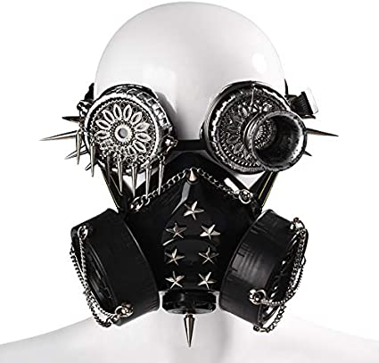 Color : A Miaoao-mask Unisexe Steampunk Masque Accessoires Halloween Gothique Masques Punk Industriel Rivet gaz