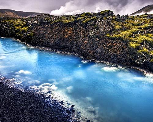SINABC Diamant Gemälde Kinder DIY Mosaik Island Landschaft Der Blaue Calcit Strom In Der Nähe Der Geothermie Natürliche Landschaft Mosaik Angst Lindern Kreativität Entdecken Runder Bohrer 40X50Cm