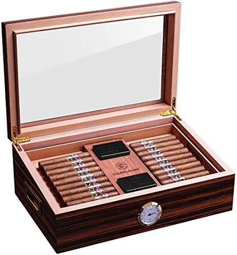 WANGXIAOYUE Caja de cigarros Caja de Humedad de Cedro Caja de Humedad Hojalización Tabla Hueca Caja de cigarro de Gran Capacidad Caja de Tabaco (Color : Brown, Size : 43 * 28 * 17cm)